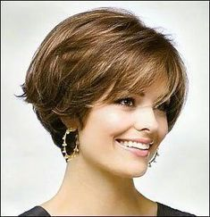 Hair Styles Ideas : Illustration Description For women blessed with thick, beaut. - Hair Styles Ideas : Illustration Description For women blessed with thick, beautiful hair, any hair - Short Hairstyles For Thick Hair, Short Brown Hair, Layered Bob Hairstyles, Short Hair Cuts, Short Hair Styles, Layer Haircuts, Hairstyles For Over 60, Nice Hairstyles, Hairstyles Pictures