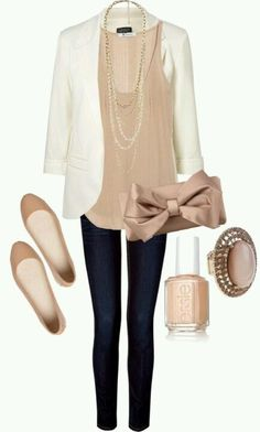 Sunday cute- like the shirt with the long necklace and the jacket...very elegant looking.