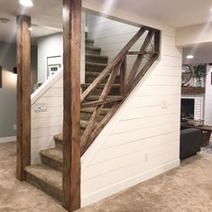 A farmhouse-style makeover on the stairwell by Blooming DIY-er, beautiful work. - A farmhouse-style makeover on the stairwell by Blooming DIY-er, beautiful work. Basement Makeover, Basement Renovations, Home Renovation, Home Remodeling, Farmhouse Renovation, Up House, Farm House, House Goals, My New Room