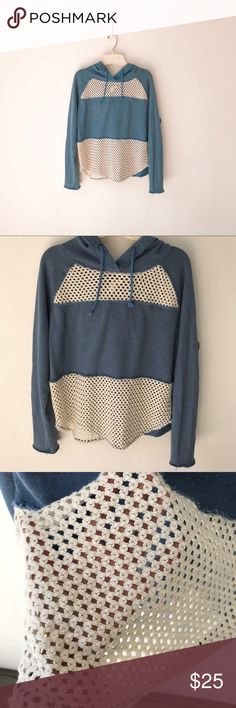 Free People Blue Crochet Hoodie Sweatshirt Small Free People We The Free blue pullover hoodie sweatshirt with cream crochet panels. Adjustable drawstring. Raw hemline and cuffs. Lightweight— perfect beach sweatshirt to keep you warm during the summer. Excellent pre-owned condition. Free People Tops Sweatshirts & Hoodies