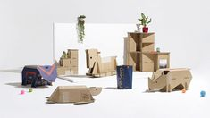 A rocking horse, a series of animal companions and three storage solutions have been selected as finalists in Samsung and Dezeen's contest to create innovative household objects from repurposed cardboard packaging.