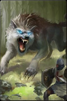 Dire wolf Fantasy Wolf, Fantasy Beasts, Fantasy Art, Fantasy Images, Fantasy Creatures, Mythical Creatures, Shadow Wolf, Werewolf Art, Kraken