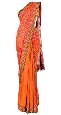 TARUN TAHILIANI  Printed sari in silk georgette with a digital printed V-neck blouse