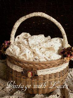 Vintage Basket full of Lace