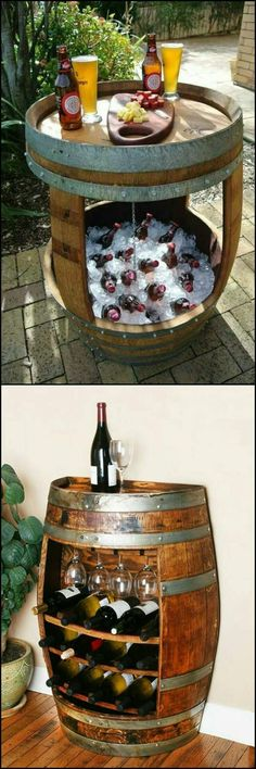 Wine Barrel Project Table and Cooler Wine Barrel Bar, Wine Barrel Table Diy, Bourbon Barrel Table, Bourbon Barrel Furniture, Wine Barrel Crafts, Wine Table, Purposal Ideas, Best Ideas, Room Ideas