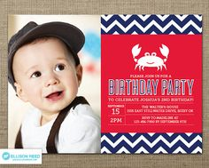 Crab Birthday Invitation  Crab Printable  Nautical by EllisonReed, $16.00