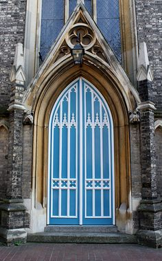 Blue Gothic Door Early Revival 1905