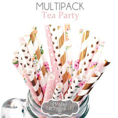 TEA PARTY Flower, Light Pink, Gold Paper Straws, Party Decor, Cake Pops, Garden Party, Shower, Birthday Baby Shower, Bridal, Wedding, Baby by MoreSprinkledJoy on Etsy https://www.etsy.com/listing/474929963/tea-party-flower-light-pink-gold-paper