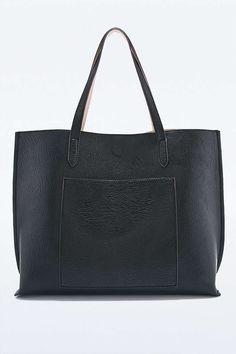 Cabas à poche en cuir vegan réversible noir et ivoire - Urban Outfitters
