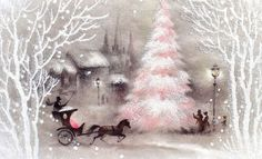 Pink Xmas Tree Horse Drawn Carriage Snow ~VTG 1950s XMAS Greeting CARD Glittered