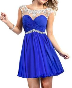 Shop 2014 Cute Homecoming Dresses Short Mini Rulffled Beaded Chiffon Dark Royal Blue Online affordable for each occasion. Latest design party dresses and gowns on sale for fashion women and girls. Looks more like a prom dress to me Cute Homecoming Dresses, Hoco Dresses, Graduation Dresses, Dance Dresses, Pretty Dresses, Beautiful Dresses, Bridesmaid Dresses, Formal Dresses, Prom Dress