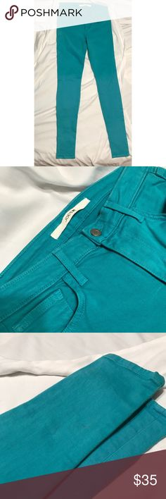 "Joe's Jean: Teal Skinny Joe's Jean: Teal Skinny | Condition: excellent with exception of small staining on calf of one leg, as indicated in third photo | Size: 28 | Inseam: 33"" Joe's Jeans Jeans Skinny"
