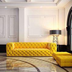 Construction Lamp by Joost van Bleiswijk via Moooi | www.moooi.com | #lighting #floorlamp #interior #design #architecture #yellow #sofa #luxury