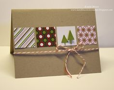 quick and easy Christmas card on kraft...row of inchies cut from beautiful patterned paper...