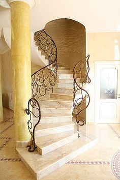handrails of wrought iron Wrought Iron Banister, Staircase Handrail, Wrought Iron Decor, Grand Staircase, Stair Railing, Staircase Design, Marble Staircase, Spiral Staircases, Railings