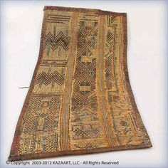 Africa | Tuareg Traditional Reed & Leather Tent Panel Mat | Early to mid 20th century | River reed, leather and cotton