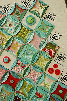 Paper Quilt - with buttons [inchie inspiration! ;) Mo]