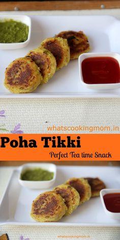 Poha Tikki poha tikki - aloo tikki made with left over poha. healthy, Indian, Ve. Healthy Indian Snacks, Healthy School Snacks, Vegetarian Snacks, Easy Snacks, Indian Food Recipes, Gujarati Recipes, Healthy Kids, Tea Time Snacks, Evening Snacks Indian