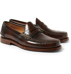 955058c172ca89 GUCCI - Burnished Leather Loafers Penny Loafers
