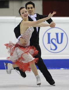 Italy's Anna Cappelini and Luca Lanotte perform during the Ice Dance compulsory dance competition of the World Figure Skating Championships on March 23, 2010 at the Palavela ice-rink in Turin.