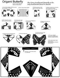 https://flic.kr/p/w17PTQ | Origami Butterfly Paper to print | Free butterfly paper to print