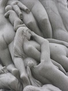 """""""The column, 14.12 meters (46 feet) high carved out of a single block of stone, consists of 121 figures. Modeled by Vigeland in the years 1924-25, it took three stone carvers from 1929 to 1943 to complete the Monolith, just shortly before Vigeland died. The column is completely covered by human figures in relief, singly or in groups. At the bottom there are seemingly inert bodies. Above them figures ascent in a spiral, the movement halting midway and then rising at a fast pace..."""