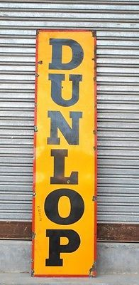 Antique Dunlop Tyre Gas Oil Station 6 Feet Porcelain Enamel Adv Sign Board