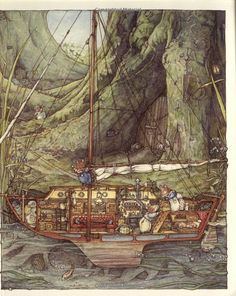 Sea Story: Primrose and Wilfred Sail to Sandy Bay Jill Barklem/Brambly Hedge Brambly Hedge, Boat Art, All Poster, Posters, Children's Book Illustration, Book Illustrations, Thing 1, Hedges, Fine Art America