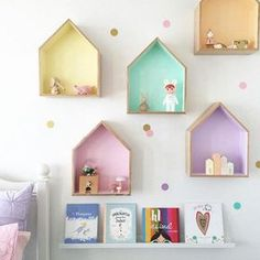 These wood dollhouse wall hangings are the perfect place to display all the little treasures that kids tend to collect. Comes in a set of two. One large house, 13x11 inches and one small house, 6x7 inches. Both houses are 3 inch deep. Choose one color for both houses. Please allow 2-4 weeks for delivery. FREE SHIPPING!