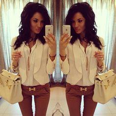 White blouse, blazer, bag & tan pant with gold Hermes belt
