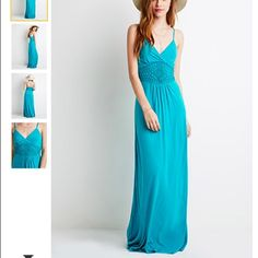 "Forever 21 v neck spaghetti adjustable maxi dress Brand new with tags! 56"" bust to hem 34"" chest 28"" waist. Too small for me and I missed the return date. Sold out at forever 21. No trades Forever 21 Dresses Maxi"