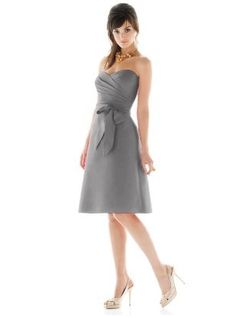 I would love all the bridesmaids to wear short, gray strapless dresses in various styles