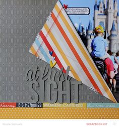 Favorite Layout: It's so simple but the idea of folding back a double sided paper to reveal the photo behind…Brilliant! At First Sight *main kit only* by NicoleS at @Studio_Calico