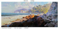 Calvin Liang Catalina Island - Oil 28 x 60!