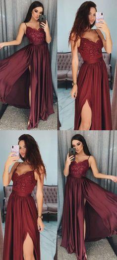 simple burgundy long prom dresses, modest spaghetti straps party dresses with appliques,cheap senior prom dresses for teens #dressywomen #promdresses #cheapdresses