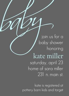 Kate- Modern Baby Shower Invitation, perfect for a baby boy