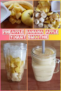 Pineapple, banana, apple, yogurt and honey smoothie juice cleanse recipes, smoothie recipes Smoothies With Almond Milk, Yogurt Smoothies, Raspberry Smoothie, Healthy Smoothies, Pineapple Banana Smoothie, Strawberry Banana, Smoothie With Apple, Banana Juice Recipe, Apple Smoothie Recipes