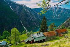 Kjeåsen mountain farm, Eidfjord, Hardangerfjord,  Norway