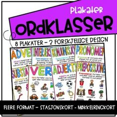 Ordklasser - plakater - Teaching Funtastic Book Of Shadows, Periodic Table, Teaching, Education, Games, Books, Design, Grammar, Periodic Table Chart