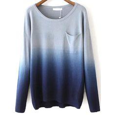SheIn(sheinside) Navy Dip Hem Ombre Pocket Sweater