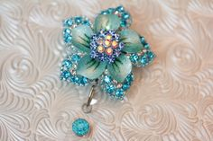Rhinestone flower - badge holder - badge reel - id hold - retractable - name badge holder - badge clip - badge bling - nurse jewelry by DefinitelyYou on Etsy