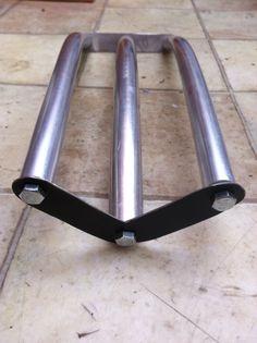 Diy bike rear rack pannier, curved to match wheel. V to I shape creates the XYZ strength.