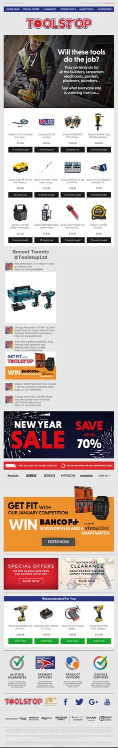 Email from Toolshop using social proof to show customers how many products have been bought recently, Twitter Feed, Recommended for you Product feed and a contest #EmailMarketing #SocialMedia #SocialProof #Recommendations #Competition