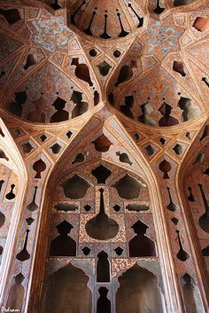 Ali Qapu - Music room - Isfahan - Iran   اتاق موسیقی - کاخ عالیقاپو - اصفهان