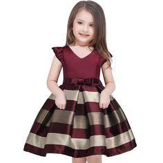 O vestido da menina Novo arco listras vestido de princesa das meninas Do Bebê menina recepção formal vestidos vestido de festa menina 2017 roupas de Natal