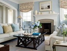 Restful living room I love the light and airy colors used.