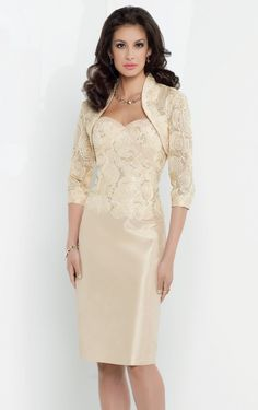 Bring out the beauty in you in Social Occasions by Mon Cheri 115850. This beautiful cocktail dress features a strapless neckline. Soutache and sequin decorates the fitted bodice. The short sheath taffeta skirt creates a captivating design. Matching soutache and sequin bolero jacket included.