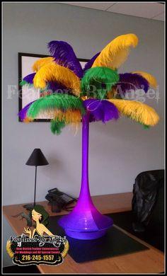 Feather Centerpieces- Mardi Gras Theme