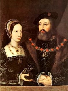 Wedding portrait of the real Mary Tudor and her husband Charles Brandon, 1st Duke of Suffolk