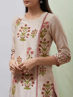 Buy Beige and Pink Hand Block Printed Chanderi Kurta with Handwoven Cotton Palazzo a… Simple Kurta Designs, Stylish Dress Designs, Kurta Designs Women, Neck Designs For Suits, Dress Neck Designs, Blouse Designs, Printed Kurti Designs, Pakistani Fashion Party Wear, Bollywood Fashion